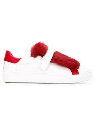 Moncler Fur Panel Sneakers White