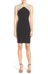 Xscape Evenings Women's Beaded Mesh And Jersey Sheath Dress Black Nude Silver