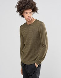Asos Cable Jumper In Merino Wool Mix Military Green