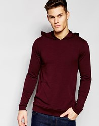 Asos Lightweight Jersey Extreme Muscle Hoodie In Oxblood Oxblood