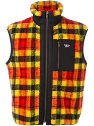 Maison Kitsune Checked Gilet Yellow And Orange