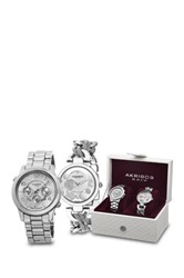 Akribos Xxiv Women's Silver Tone Watch Gift Set Metallic
