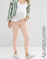 Asos Maternity Ridley Skinny Jeans In Petal Pink Wash With Rip And Repair Pink
