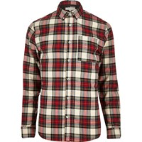 River Island Mens Red Tartan Check Flannel Shirt