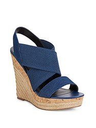 Charles By Charles David Allison Denim And Cork Espadrille Platform Wedge Sandals Lagoon