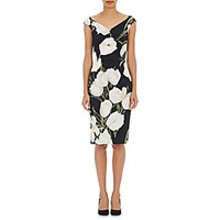 Dolce And Gabbana Women's Tulip Print Satin Back Crepe Sheath Dress Blue