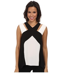 Bcbgmaxazria Sheli Color Blocked Cross Halter Top Black Combo Women's Clothing
