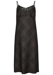 Maison Martin Margiela Dark Brown Checked Wool Blend Dress