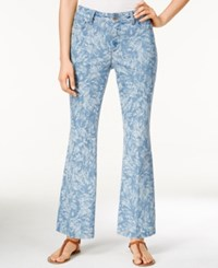 Nydj Petite Claire Chambray Leaf Print Trouser Jeans Palace Leaves