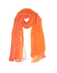 Laura Biagiotti Double Chiffon Silk Stole Coral Orange