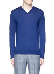 Isaia Extra Fine Merino Wool Sweater Blue