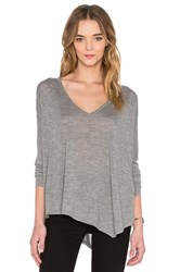 Autumn Cashmere Asymmetrical V Neck Sweater Gray