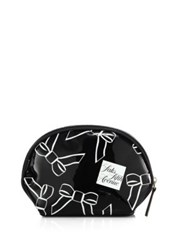 Saks Fifth Avenue Small Bow Cosmetic Case Black White