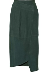 Tibi Suede Wrap Skirt Green
