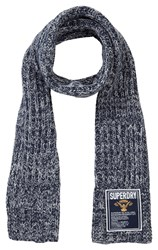 Superdry Super Cable Plain Scarf Navy Marl