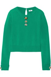 Issa Freya Embellished Wool And Cashmere Blend Sweater Green