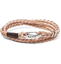Paul Smith Two Tone Woven Leather Wrap Bracelet Beige