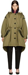 Burberry Green Shearling Trimmed Parka