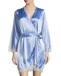 Oscar De La Renta Solid Charmeuse Wrap W Lace Trim Light Blue