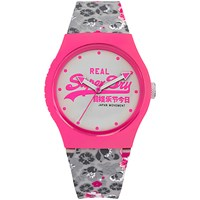 Superdry Syl169ep Unisex Urban Floral Silicone Strap Watch Grey White