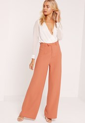 Missguided Premium Crepe Wide Leg Trousers Nude Tan
