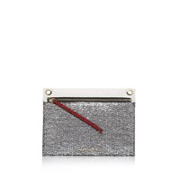 Kurt Geiger Lurex Tweed Gemini Pouch Clutch Bag Silver