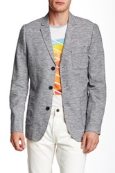 Howe Static Linen Blend Three Button Soho Blazer Blue