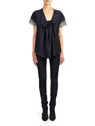 Alexis Mabille Top In Denim Jersey With Knotted Neckline Blue