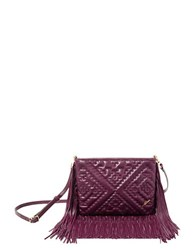 Brian Atwood Nora Leather Fringe Crossbody Bag Dark Red