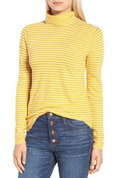 J.Crew Women's Stripe Tissue Turtleneck Tee Light Mustard Ivory