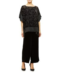 Eileen Fisher Burnout Velvet Poncho Tunic Women's Black