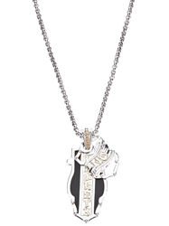 Stephen Webster Silver Onyx And Yellow Gold Dogtag Necklace Metallic