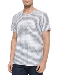 7 For All Mankind Striped Short Sleeve Tee Blue