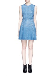 Alexander Mcqueen Dark Wash Denim Dress Blue