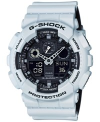 G Shock Men's Analog Digital White Resin Strap Watch 51X55mm Ga100l 7A Black