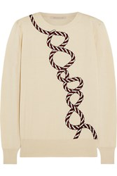 Christopher Kane Embroidered Cashmere And Silk Blend Sweater Nude