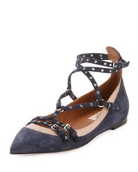 Valentino Love Latch Caged Ballerina Flat Blue