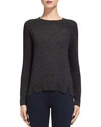 Whistles Notched Hem Cashmere Sweater Dark Gray
