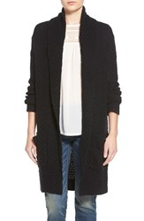Women's Hinge Marled Long Open Front Cardigan Black