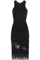 Mason By Michelle Mason Lace Paneled Stretch Jersey Dress Black