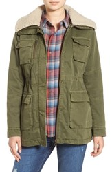 Steve Madden Women's Cotton Anorak With Removable Faux Shearling Trim Olive