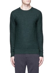 Scotch And Soda Waffle Knit Wool Sweater Green