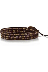 Chan Luu Leather Swarovski Crystal And Bead Wrap Bracelet Brown