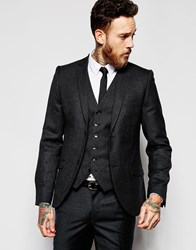 Heart And Dagger Tweed Blazer In Skinny Fit Black