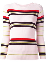 Chinti And Parker Ribbed Striped Sweater Pink And Purple