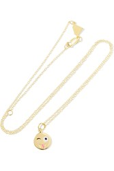 Alison Lou Small Crazy Face 14 Karat Gold Enamel Necklace