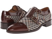 Etro Houndstooth And Leather Double Monk Brown Houndstooth Men's Monkstrap Shoes
