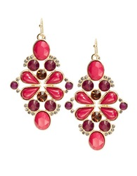 Catherine Stein Beaded Cluster Drop Earrings Pink Multi
