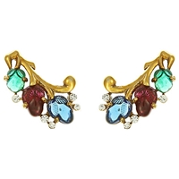 Eclectica Vintage 1940S Trifari Carved Fruit Earrings Multi Gold