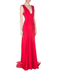 Roland Mouret Lubelia Deep V Neck Peplum Gown Red